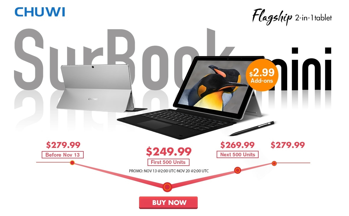 CHUWI SurBook Mini ราคาพิเศษที่ Gearbest 13 – 20 พฤศจิกายนนี้เท่านั้น